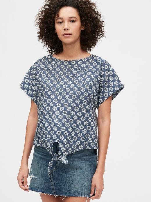 Kadın Mavi Bağlama Detaylı Bluz