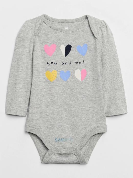 Kız Bebek Gri Uzun Kollu Grafik Body
