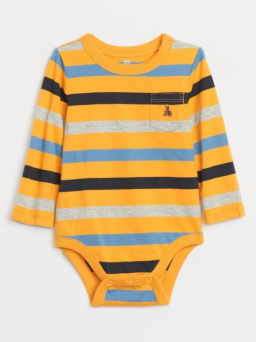 Erkek Bebek Sarı Çizgili Uzun Kollu Body
