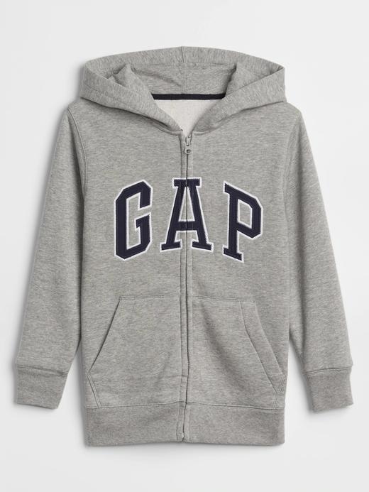 Erkek Çocuk Gri Gap Logo Kapüşonlu Sweatshirt