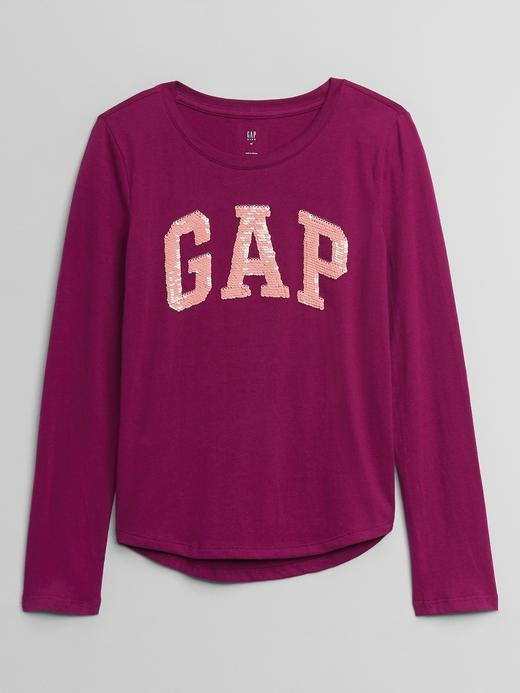 Kız Çocuk Pembe Gap Logo Değişen Pullu Uzun Kollu T-Shirt