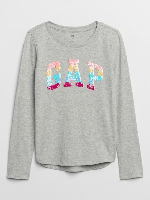 Kız Çocuk Gri Gap Logo Değişen Pullu Uzun Kollu T-Shirt