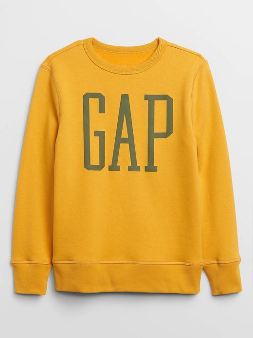 Erkek Çocuk Sarı Gap Logo Düz Yaka Sweatshirt