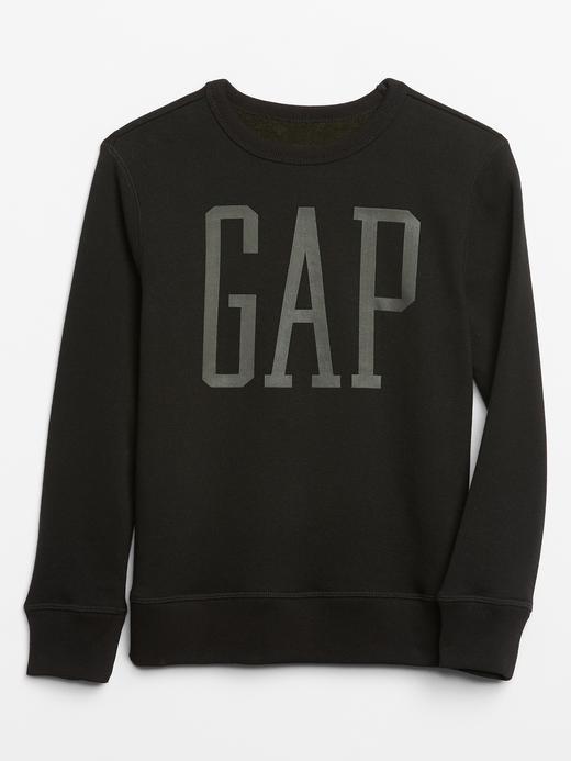 Erkek Çocuk Siyah Gap Logo Düz Yaka Sweatshirt