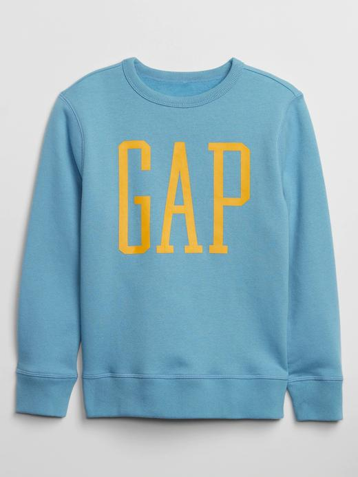 Erkek Çocuk Mavi Gap Logo Düz Yaka Sweatshirt