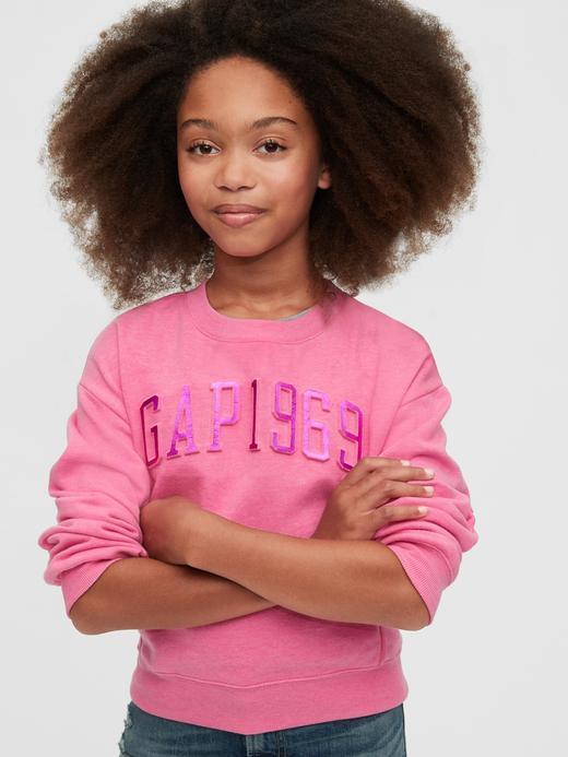 Kız Çocuk Pembe Gap Logo Yuvarlak Yaka Sweatshirt