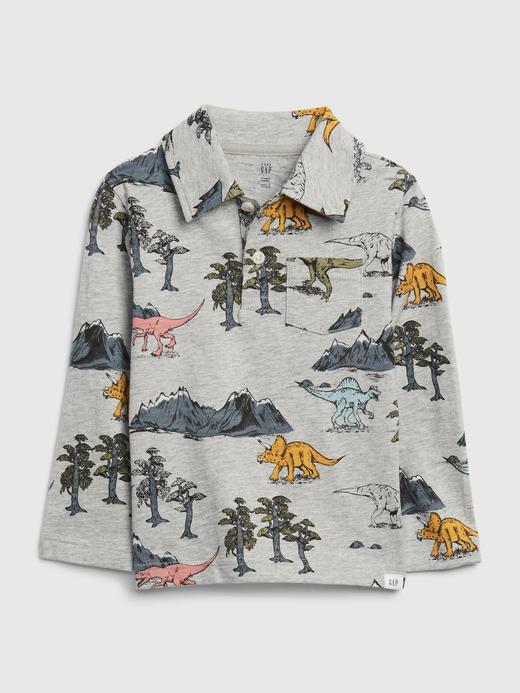 Erkek Bebek Gri Uzun Kollu Polo Yaka T-Shirt