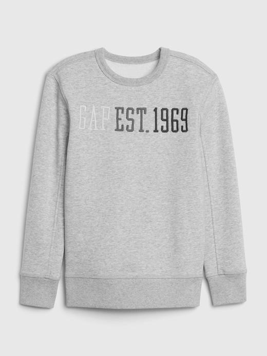 Erkek Çocuk Gri Gap Logo Düz Yaka Sweatshirt