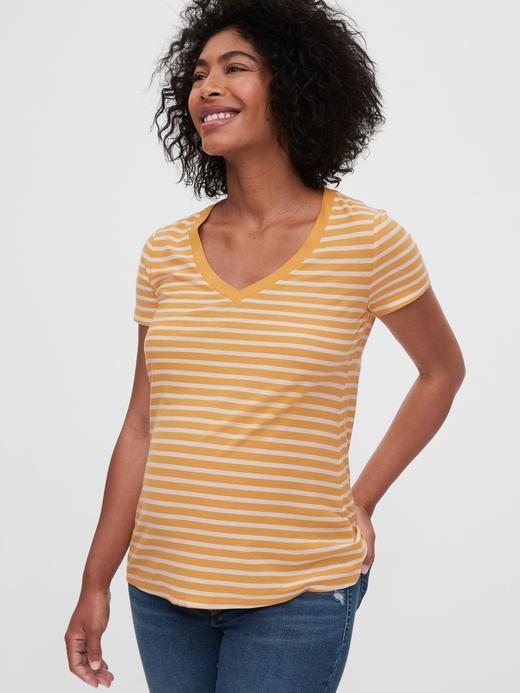 Kadın Sarı Maternity Vintage V Yaka T-Shirt