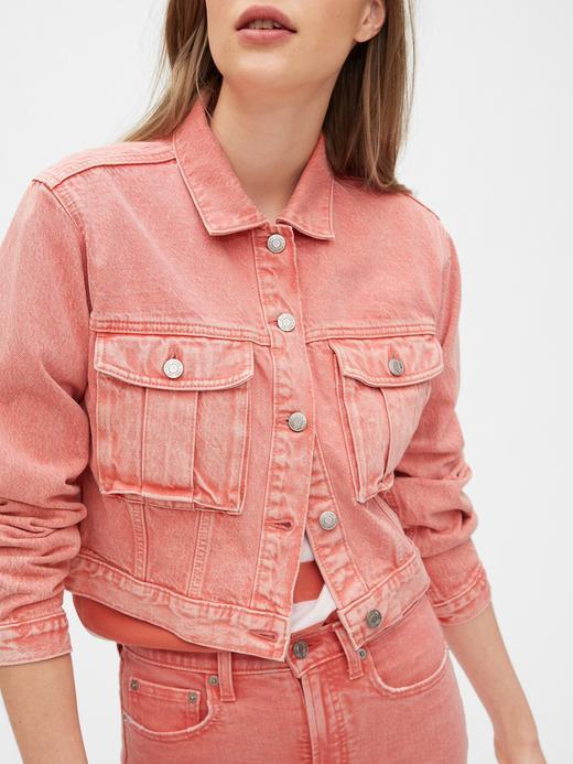 Kadın Pembe Cropped Utility Ceket