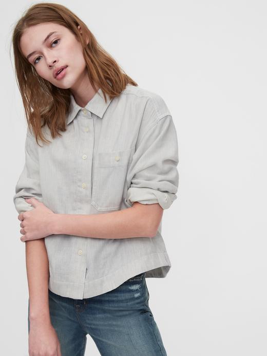 Kadın Gri 1969 Premium Cropped Gömlek
