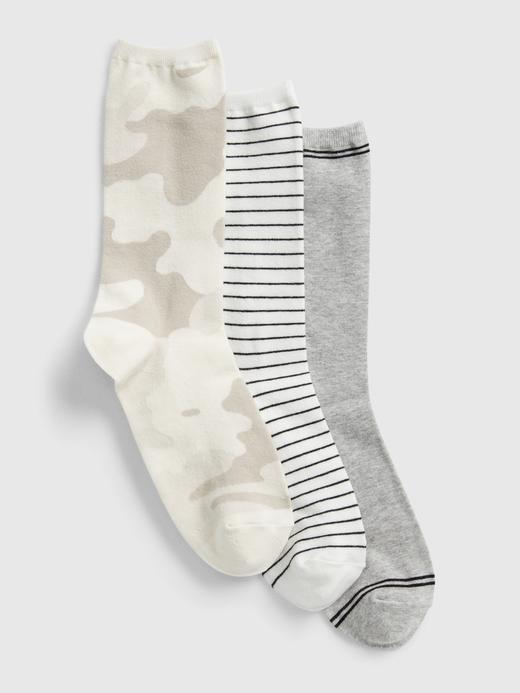 Kadın Gri 3'lü Desenli Çorap Seti