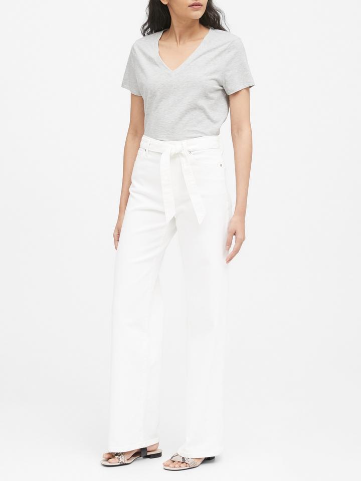 Kadın Beyaz SUPIMA® V Yaka T-Shirt