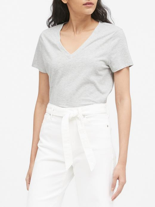Kadın Gri SUPIMA® V Yaka T-Shirt