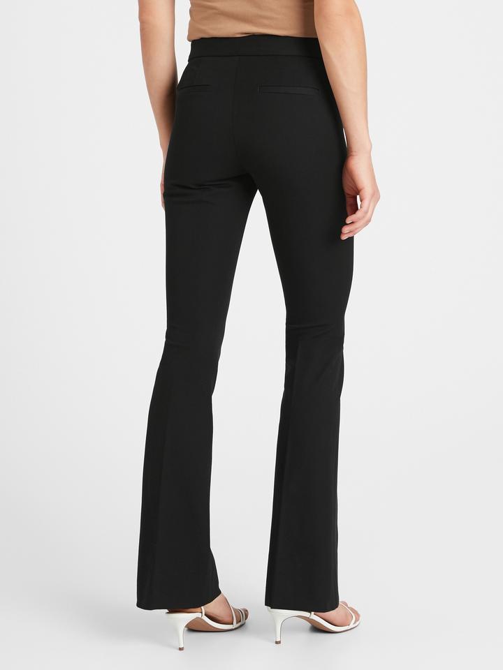 Kadın Siyah High-Rise Flare Pantolon