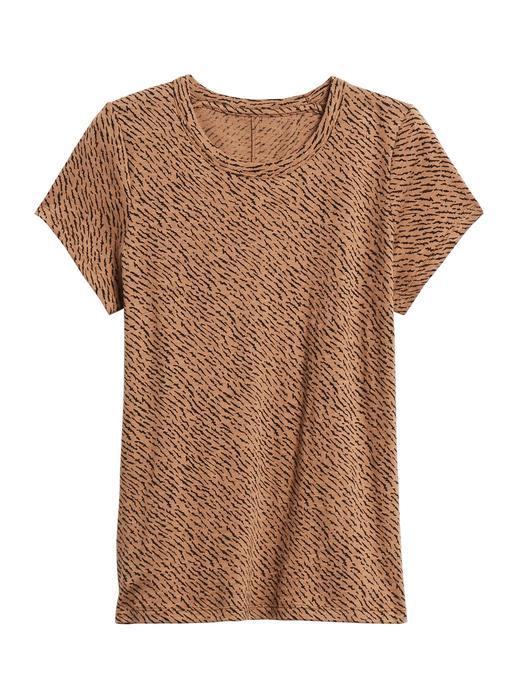 Kadın Kahverengi Desenli Kısa Kollu T-Shirt