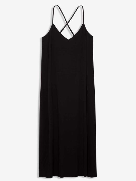 Kadın Siyah Askılı Midi Elbise