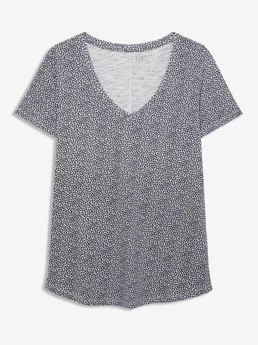 Kadın Lacivert Desenli V Yaka T-Shirt