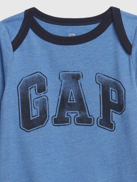 Erkek Bebek Mavi Gap Logo Uzun Kollu Body