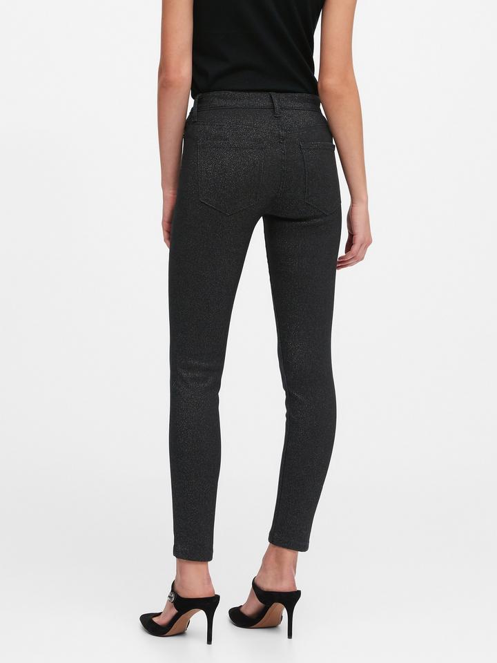 Kadın Siyah Mid-Rise Skinny Metallic Jean Pantolon