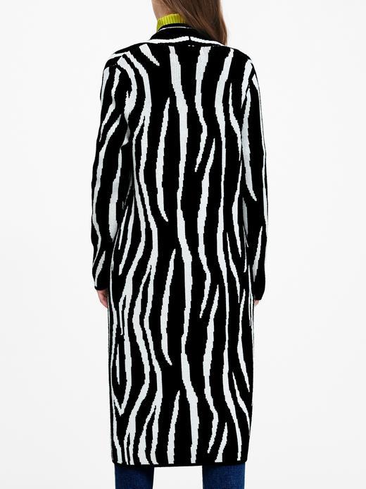 Kadın Siyah Zebra Desenli Hırka