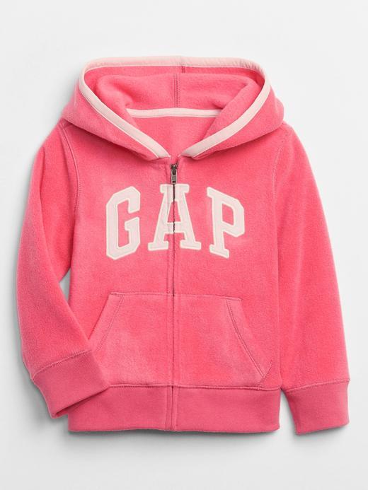 Kız Bebek Pembe Gap Logo Kapüşonlu Polar Sweatshirt