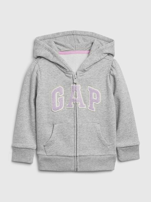 Kız Bebek Gri Gap Logo Kapüşonlu Sweatshirt