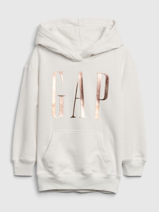 Kız Çocuk Beyaz Gap Logo Kapüşonlu Tunik Sweatshirt