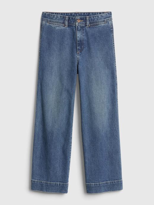 Kadın Mavi High Rise Wide-Leg Crop Jean Pantolon