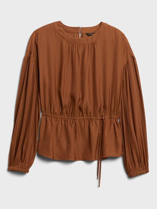 Kadın Kahverengi Relaxed Uzun Kollu Bluz