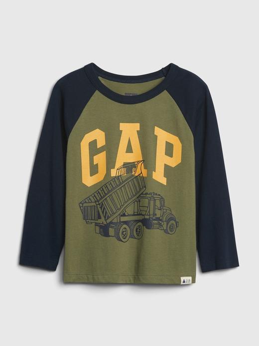 Erkek Bebek Yeşil Gap Logo Uzun Kollu T-Shirt
