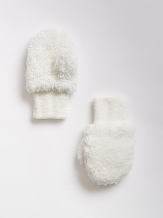 Bebek Beyaz Yumuşak Dokulu Eldiven