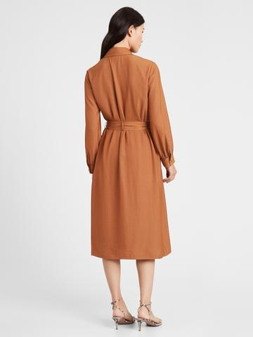 Kadın Kahverengi Midi Trenç Elbise