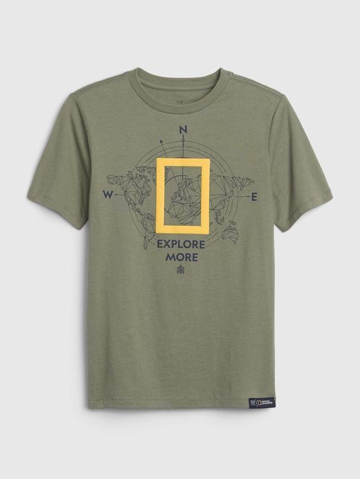 Erkek Çocuk Yeşil National Geographic Kısa Kollu T-Shirt