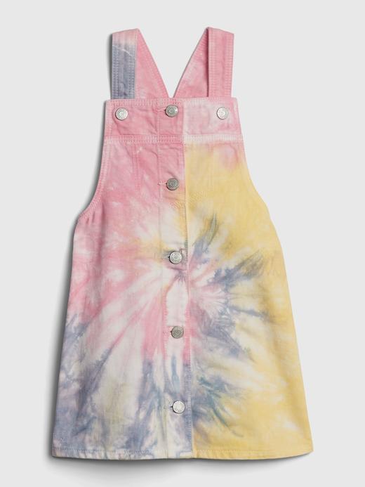 Kız Bebek Çok Renkli Batik Desenli Denim Salopet