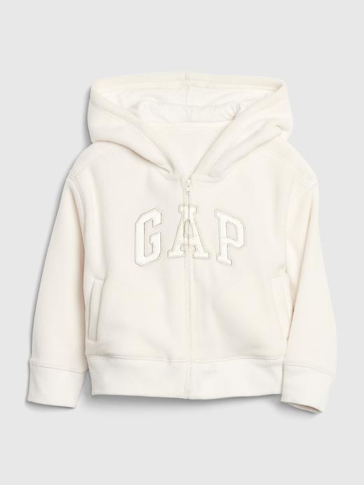 Kız Bebek Beyaz Gap Logo Kapüşonlu Sweatshirt