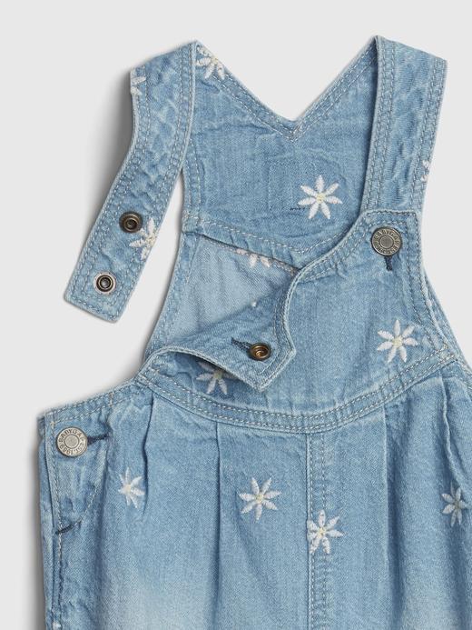 Kız Bebek Mavi İşlemeli Denim Salopet
