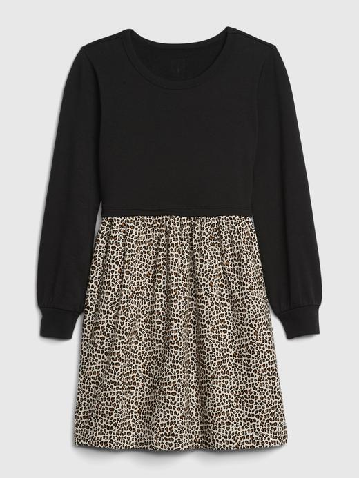Kız Çocuk Siyah Desenli Uzun Kollu Elbise