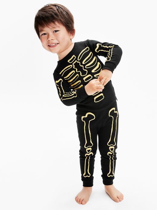 Erkek Bebek Siyah Karanlıkta Parlayan Baskılı Pijama Takımı