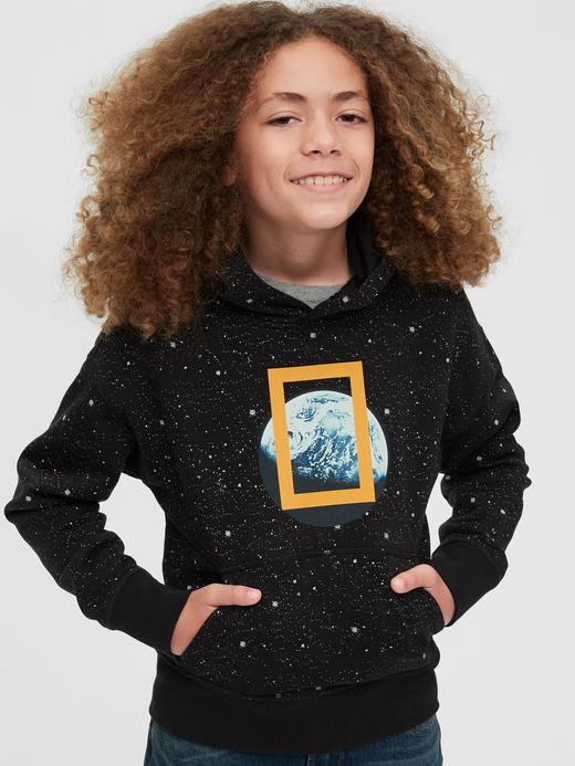 Erkek Çocuk siyah National Geographic Kapüşonlu Sweatshirt
