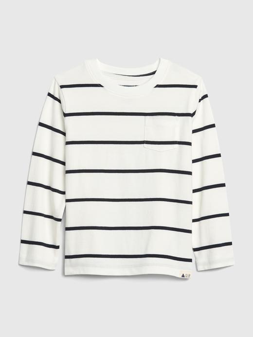 Erkek Bebek Beyaz Çizgili Uzun Kollu T-Shirt