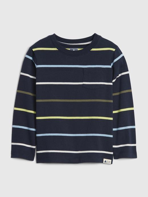 Erkek Bebek Lacivert Çizgili Uzun Kollu T-Shirt