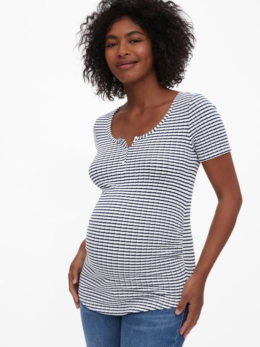 Kadın Lacivert Maternity Kısa Kollu T-Shirt