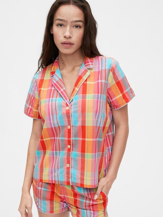 Kadın Kırmızı Poplin Gömlek Pijama Üstü