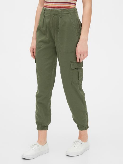 Kadın Yeşil TENCEL™ Cargo Utility Jogger Pantolon