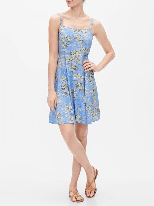 Kadın Mavi Desenli Askılı Elbise