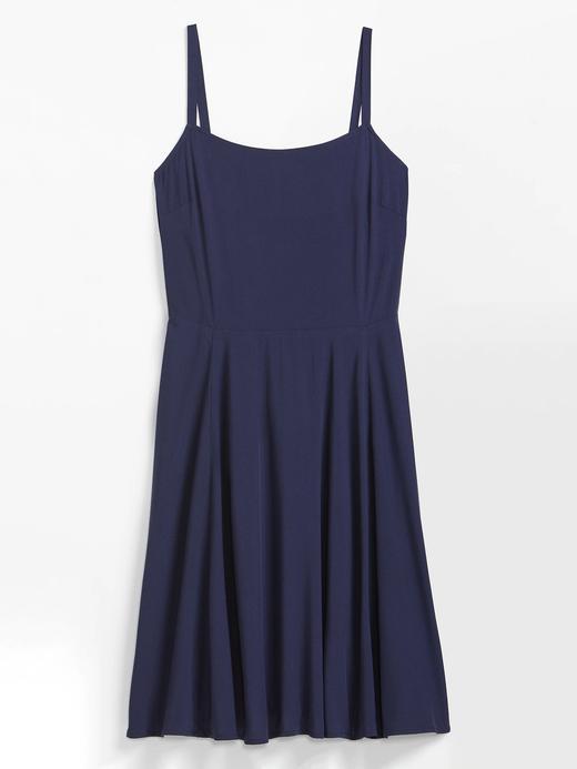 Kadın Lacivert Desenli Askılı Elbise