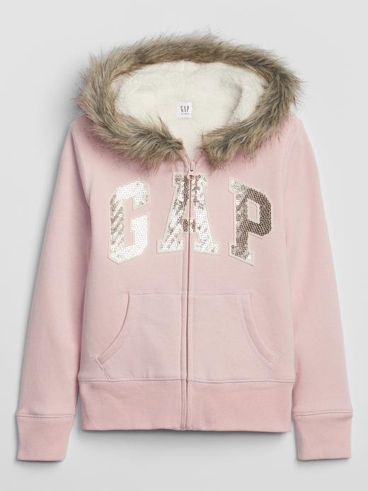 Kız Çocuk Pembe Gap Logo Suni Kürklü Kapüşonlu Sweatshirt