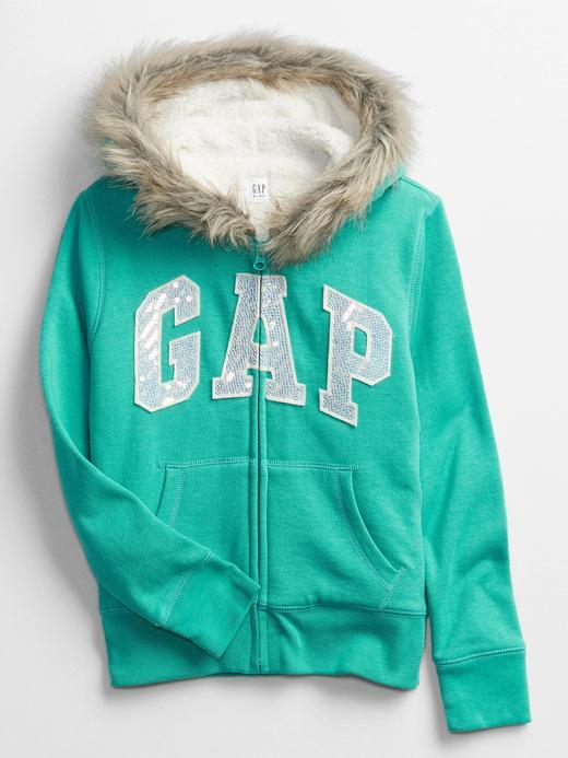 Kız Çocuk Mavi Gap Logo Suni Kürklü Kapüşonlu Sweatshirt