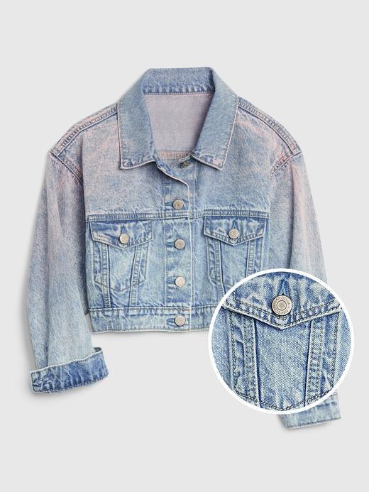 Kız Çocuk Pembe Cropped Icon Denim Ceket